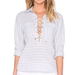 NWT Saylor Striped Lace Up Nautical Blouse Top XS